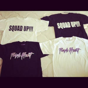 Image of Purple Heart & Squad Up (T-Shirts) available in black and white M,L,XL
