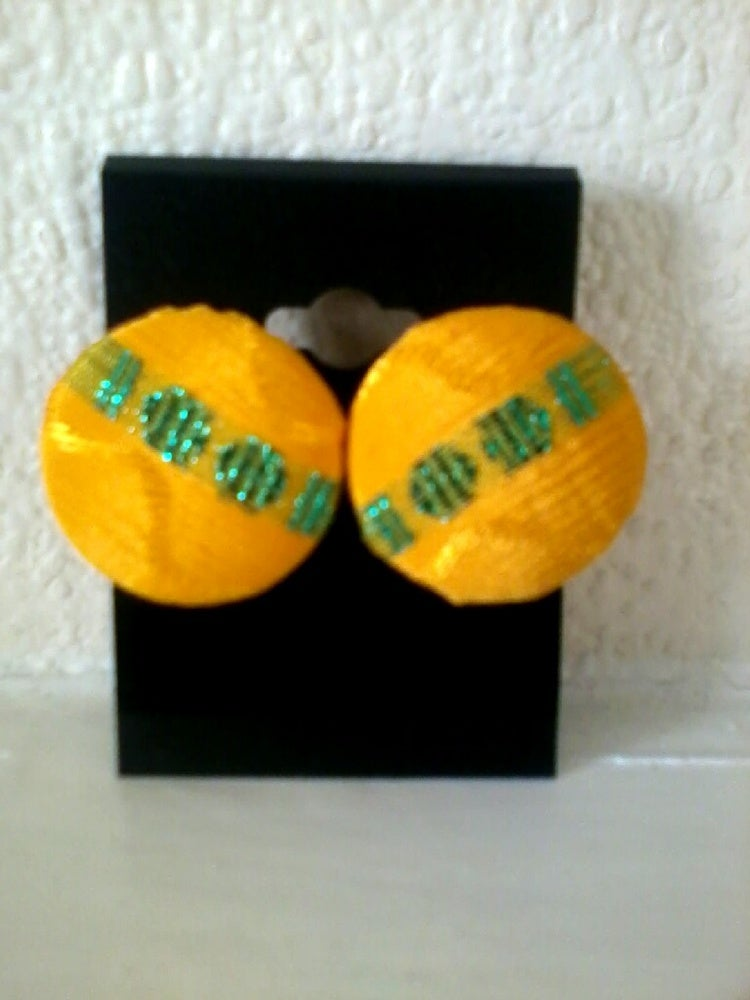 Image of Vekras Yellow and green stud earrings