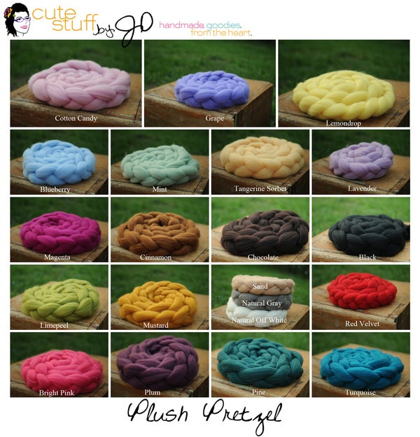 Image of 10' Thin Plush Pretzel MANY COLORS