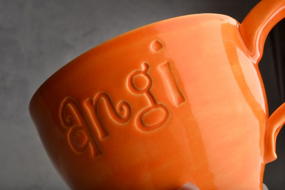 Image of Personalized Stamped Soup Cocoa Mug