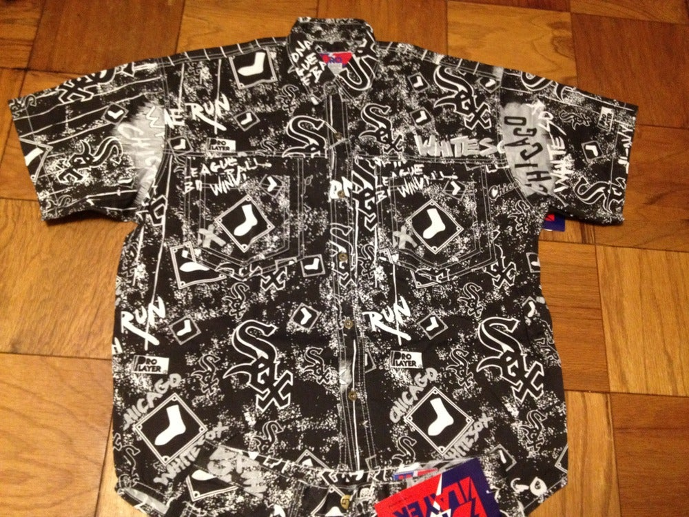Image of Vintage Deadstock Chicago White Sox All Over Print Denim Shirt by Pro Player