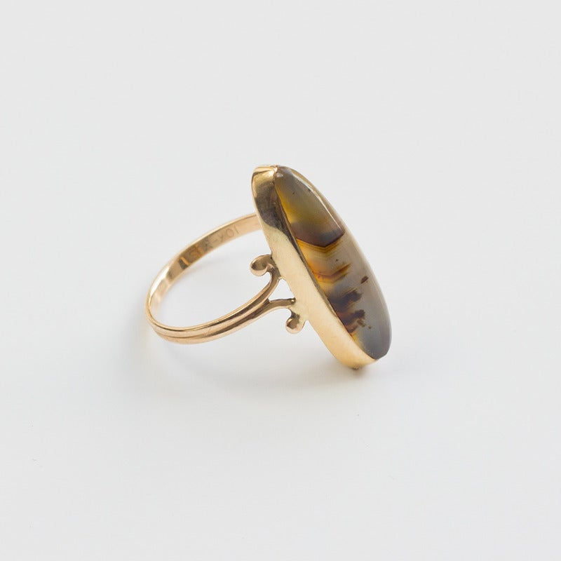 Image of Antique Gold and Moss Agate Navette Ring