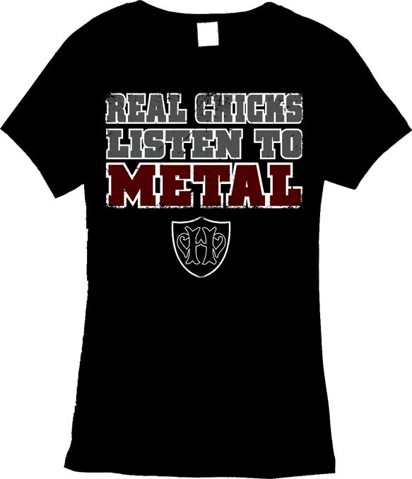 "Image of Real Chicks Listen To Metal - Black - Ladies ""Babydoll"" style Shirt"