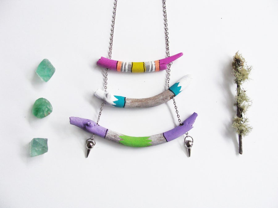 Image of Hand Painted driftwood Layered Necklace | NZ dlls
