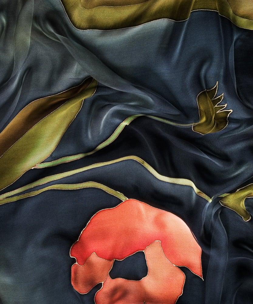 Image of Mystic Poppy Silk Shawl - Handpainted Silk