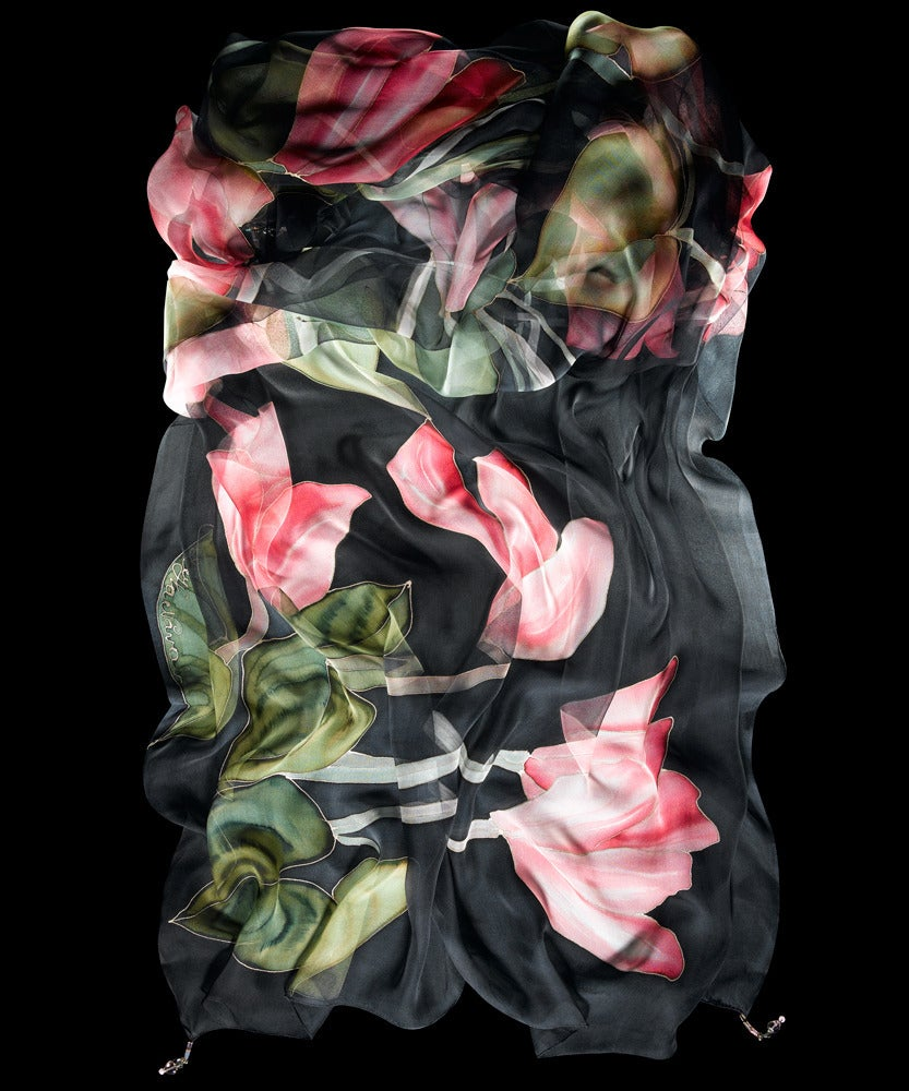 Image of Pink Tulips Silk Shawl - Handpainted Silk