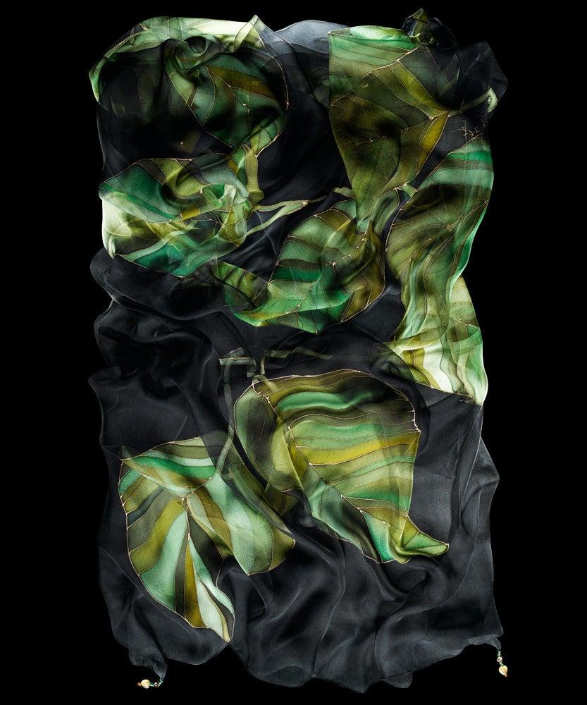 Image of Green Leaves Silk Shawl - Handpainted Silk