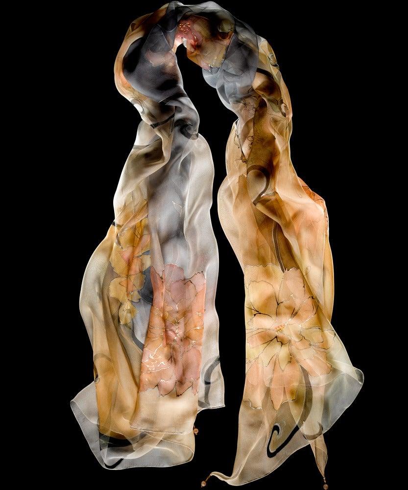 Image of Morning Peonies Silk Shawl - Handpainted Silk