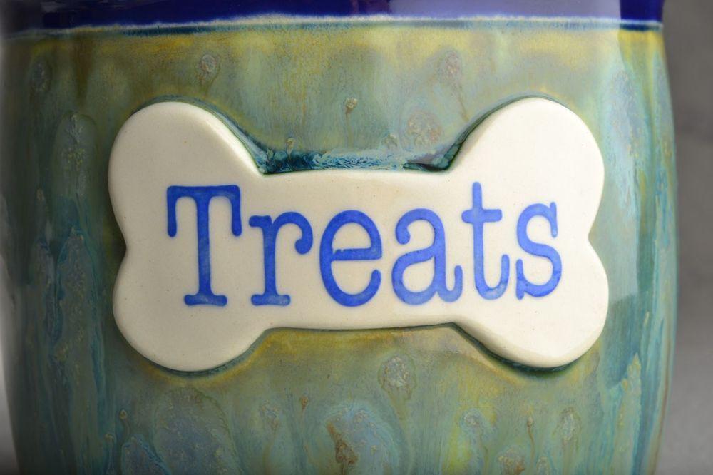 "Image of Dog Treat Jar Green Blue Drippy ""Muffin"""