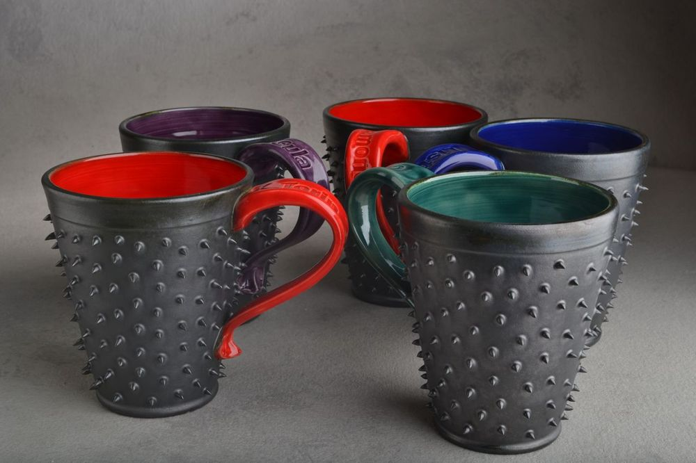 Image of Spiky Mug Gun Metal Black and Red Made To Order