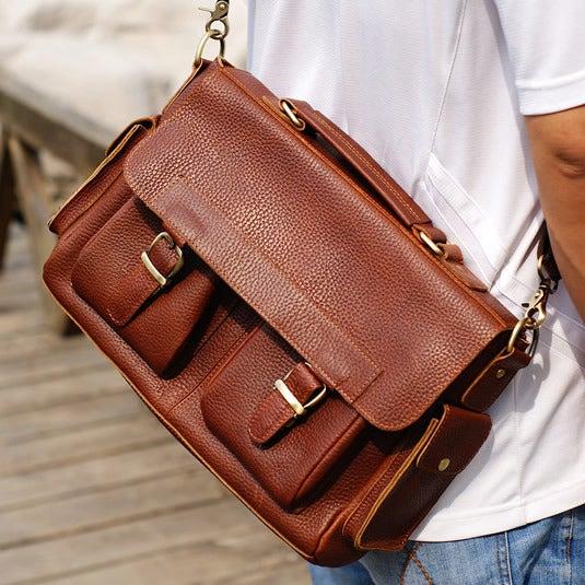 """Image of Handmade Genuine Leather Briefcase Messenger 13"""" Laptop / 13"""" MacBook Bag in Brown (n55-2)"""