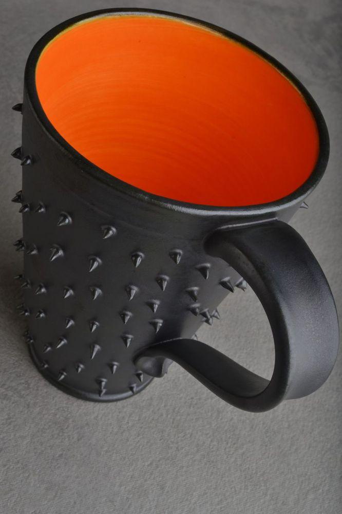 Image of Spiky Mug Tall Gun Metal Black and Orange