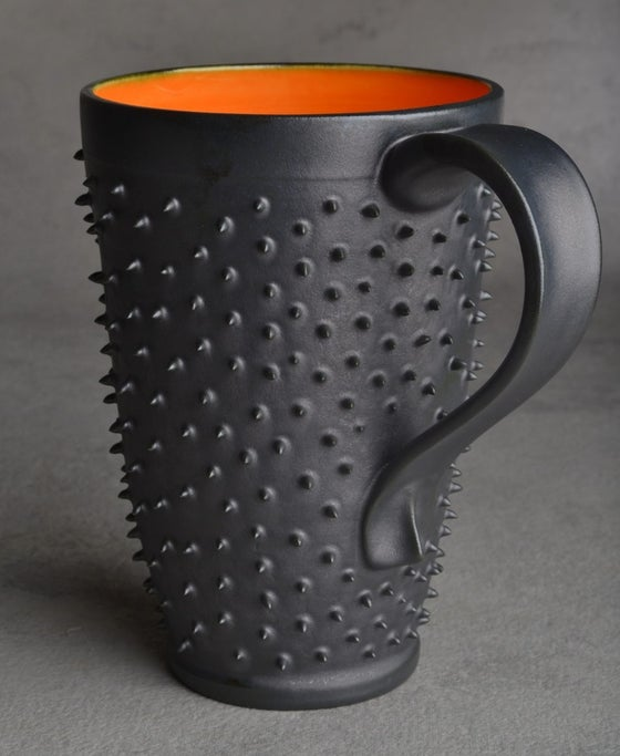 Image of Spiky Mug Tall Gun Metal Black and Orange