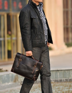 Image of Handmade Genuine Leather Briefcase Messenger Laptop Bag for Gentlemen - TREASURE (n361)
