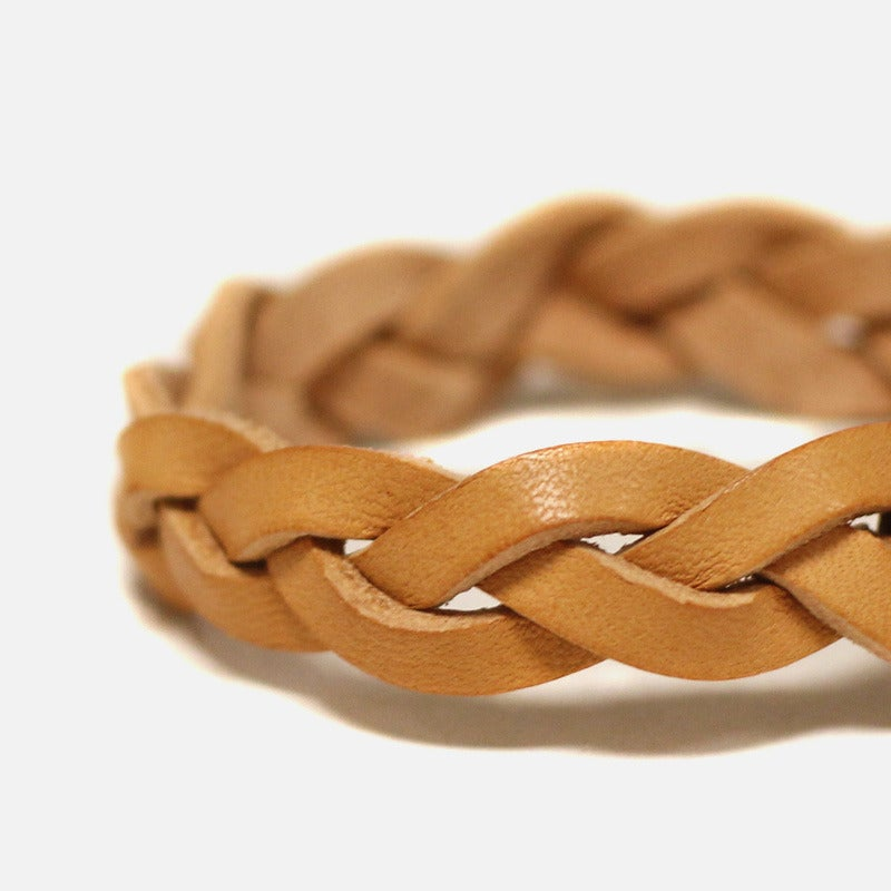 Image of Leather Braided Bracelet - Cashew