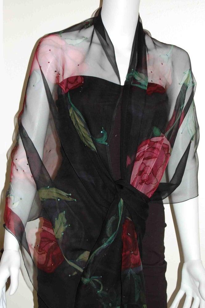 Image of Melancholic Rose Silk Shawl - Handpainted Silk Shawl Made in USA