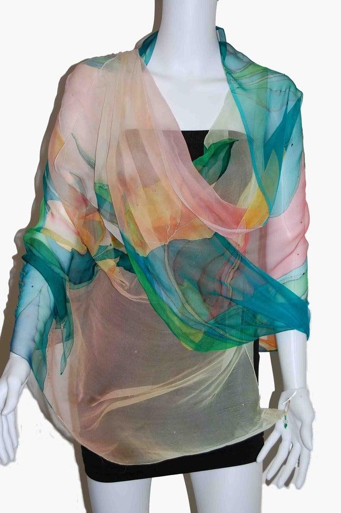 Image of Flying Peacock Silk Shawl - Handpainted Silk Shawl Made in USA