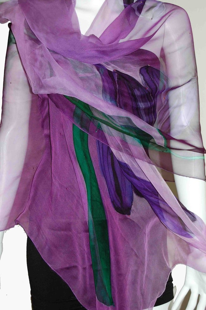 Image of Mystical Tulips Silk Shawl - Handpainted Silk Shawl Made in USA