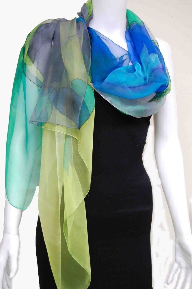 Image of Green & Grays Silk Shawl - Handpainted Silk Shawl Made in USA