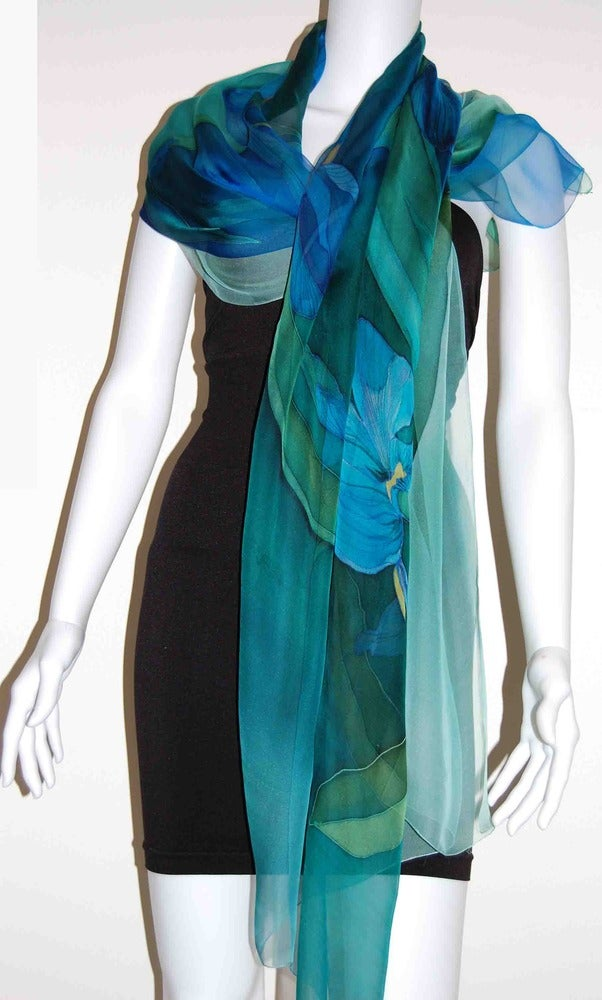 Image of Indian Ocean Silk Shawl - Handpainted Silk Shawl Made in USA