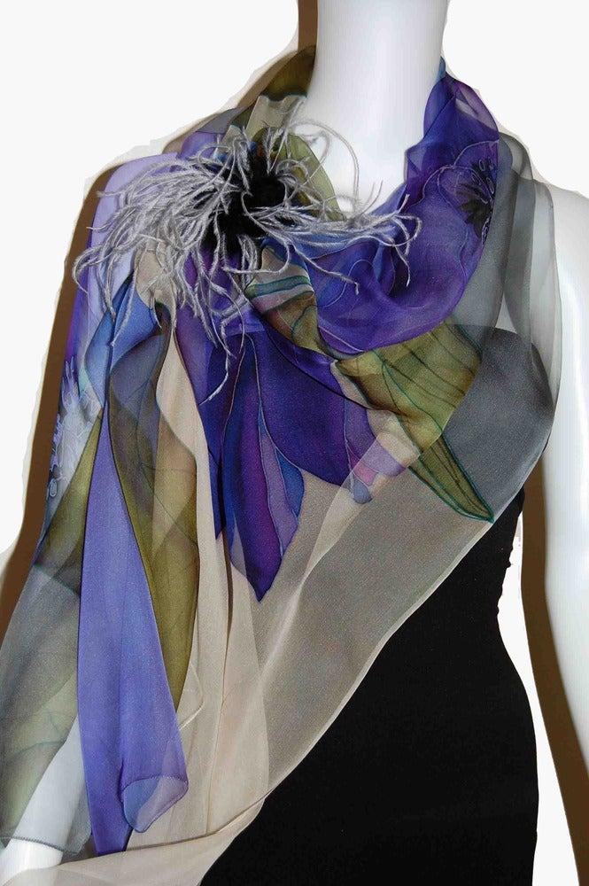 Image of Tulip in Blue Silk Shawl - Handpainted Silk Shawl Made in USA