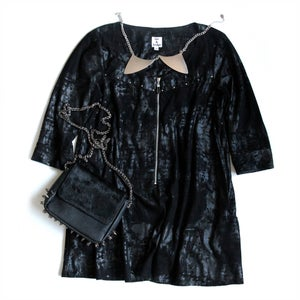 Image of Studded Suede Mid-sleeve Dress