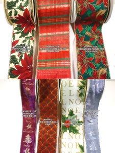 """Image of Group17 & 18 Premium Wired Holiday Ribbon 1 1/2""""-3 5/8"""" w """"By the Yard"""""""