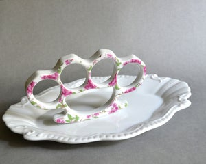 Image of New Cast Porcelain China Knuckles - Pink and Gold Floral