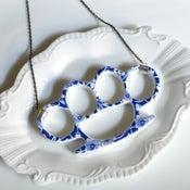 Image of New Cast Porcelain China Knuckles - Blue Floral Necklace