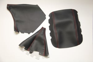 Image of 08-12 WRX/ST SYNTHETIC LEATHER SET. (BLACK LEATHER/RED STITCHING)