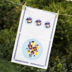 Image of Pansies Tea towel