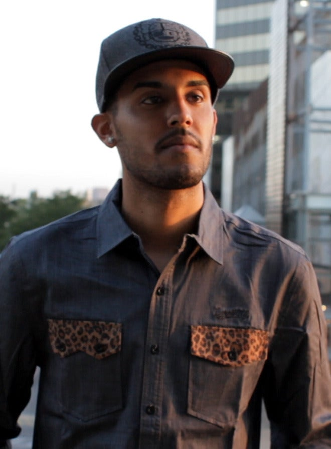 Image of 'Raphael' - 3 K.N.G.'s Grey/Leopard Chambray Button Shirt