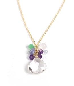 Image of Multicolor Stone Drop Necklace