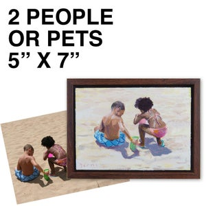 """Image of Commissioned 5"""" x 7"""" Painting - 2-4 people/pets"""