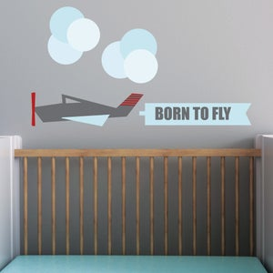 Image of Modern Airoplane Fabric Wall Decal Decor Sticker Kids Nursery Bedroom