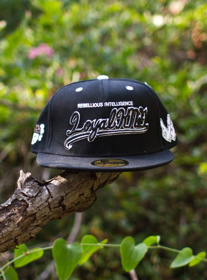 Image of Loyal K.N.G. Cursive Script Black Snapback Cap #01