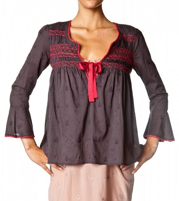 Image of Odd Molly Remix Blouse (Dark Gray/Hot Pink)