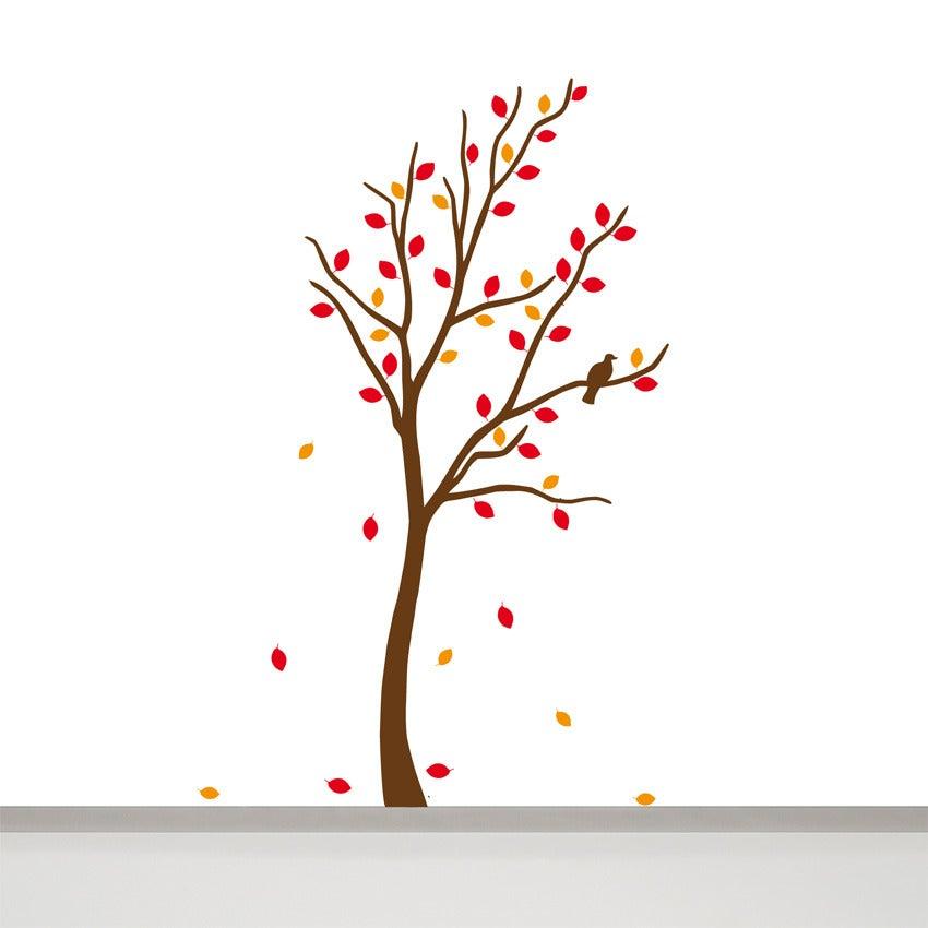 Image of Baum Wandtattoo mit Vogel und 60 Blättern