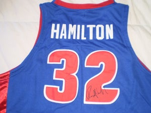 Image of Rip Hamilton Signed Reebok Away Authentic Jersey with Game Ticket