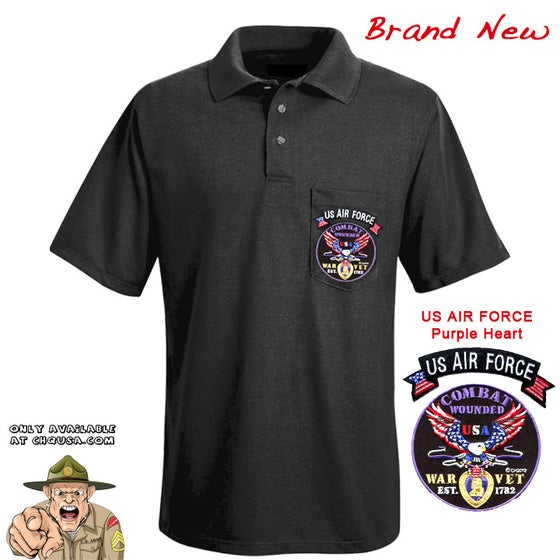 Image of MENS POLO PURPLE HEART & AIR FORCE TAB- PSBP24/C