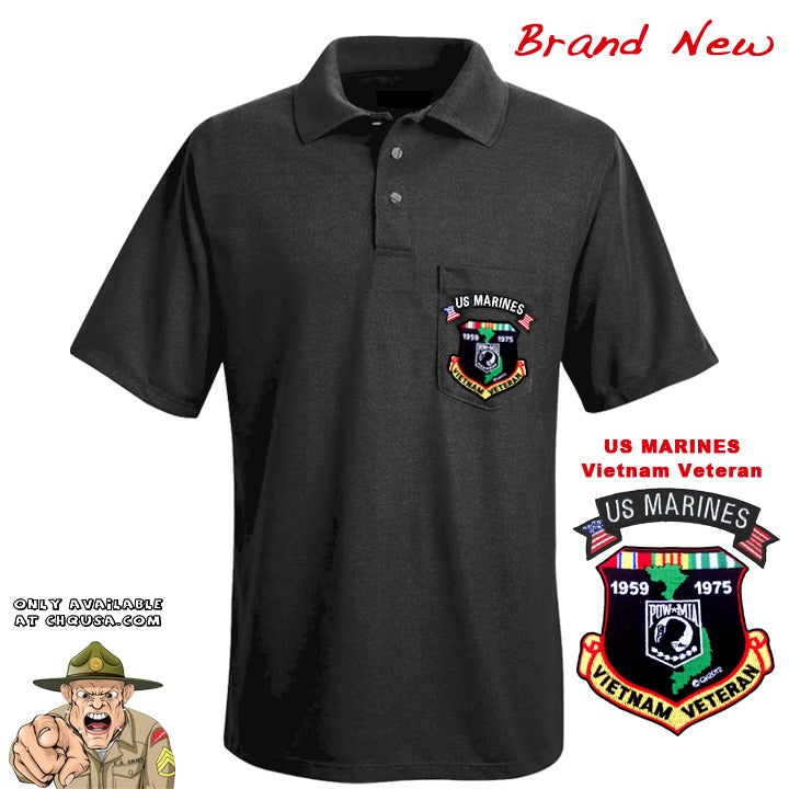 Image of MENS POLO VIETNAM VETERAN & MARINES TAB- PSBP25/D