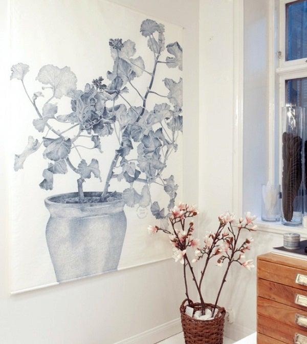 Image of Swedish Wall Decor, Blue Geranium (Linen)