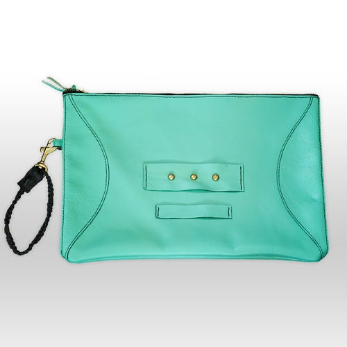 Image of Clarisse handmade leather clutch - Fresh Mint