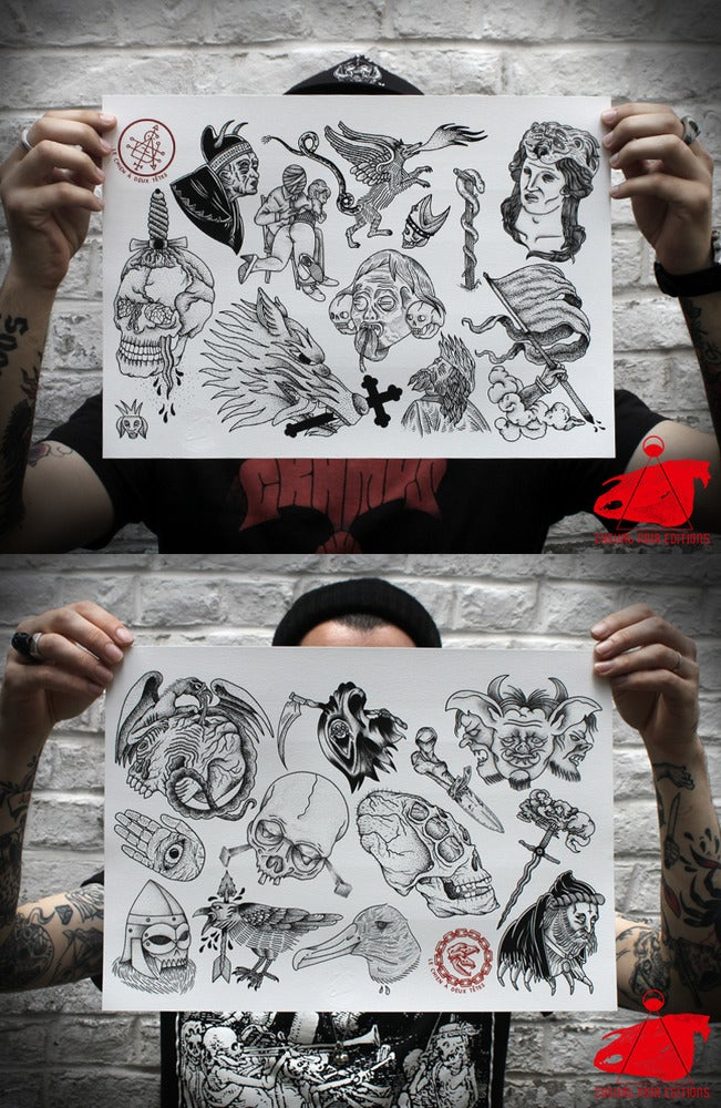 Image of TATTOO FLASH SET - LE CHIEN A DEUX TETES - SOLD OUT