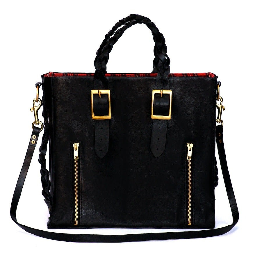 Image of Charlotte handmade leather tote - Void Black