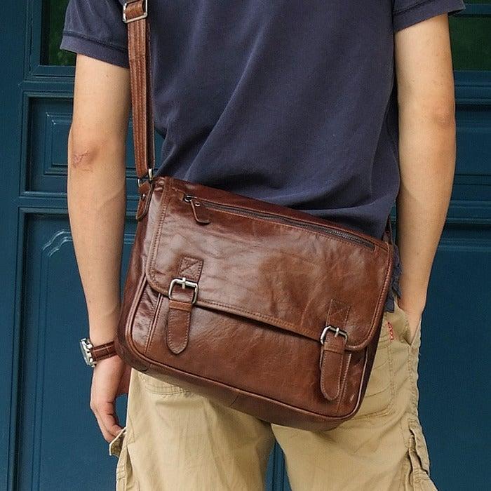 """Image of Handmade Vintage Leather Messenger Bag / Satchel / 11"""" MacBook Air Bag in Dark Brown (n84)"""