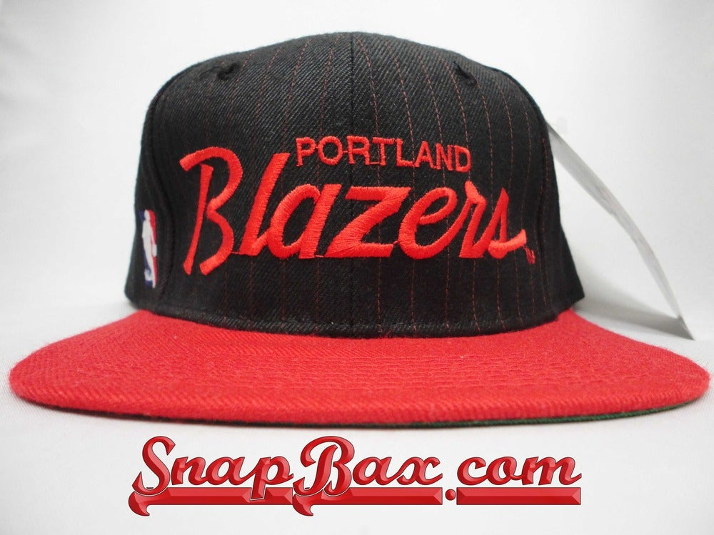 Image of Vintage Deadstock Portland Trailblazers Sports Specialties Pinstripe Script Snapback Hat Cap