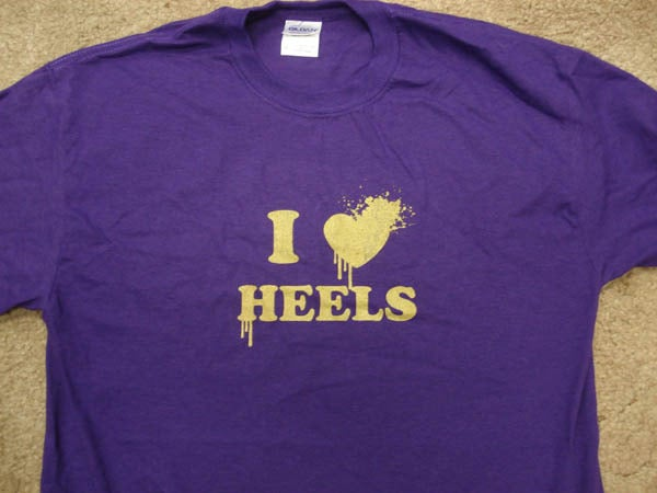 Image of I LOVE HEELS PURPLE GOLD METTALIC INK LIMITED EDITION (Kids & Adult sizes available)