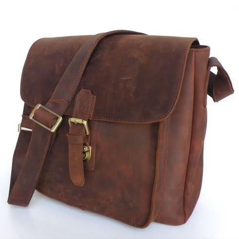Image of Vintage Handmade Antique Genuine Crazy Horse Leather Messenger Bag Satchel / iPad Bag (n81-2)