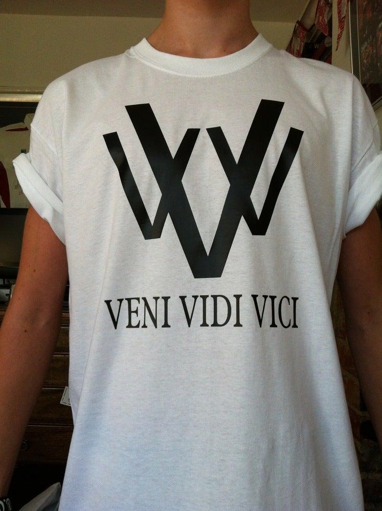 Image of vVv white logo tee